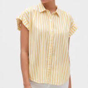 Gap Yellow & White Button up Shirt XXL